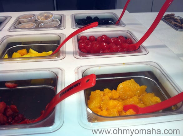 The healthy fruit in the toppings bar at Red Mango. Naturally, my son wanted Nerds and sprinkles on his frozen yogurt instead.