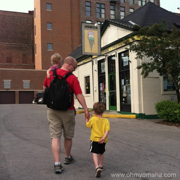 Restaurants in Omaha - Family walking to Ted and Wally's in the Old Market