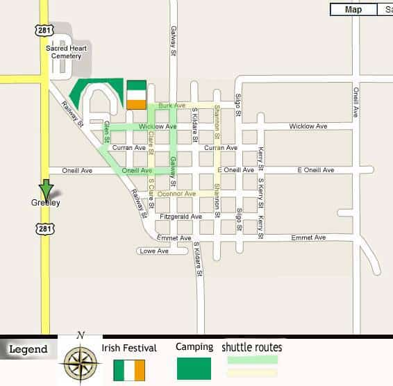 Greeley, Neb., is pretty easy to navigate, but here' s a map just in case. Pretty much, on the day of the Irish fest, just follow the people in Green. You'll find it.