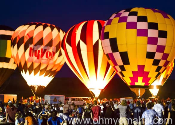 Fields of Flight balloon glow at Ditmars Orchard & Vineyard in Council Bluffs.