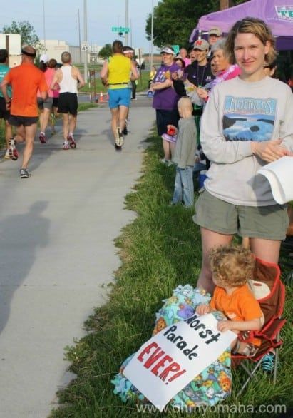 Your family can help man water stations for nonprofits during a race, or if your children are really young, make a witty sign and have them hold it to entertain runners. (I prefer witty signs, you might like inspirational messages to push the runners forward, whatev).