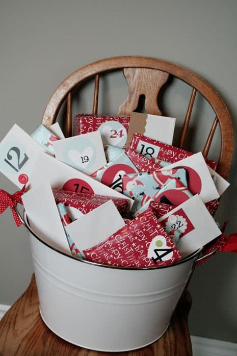 A bucket full of joy. I believe there are 25 days in there. Found this on workmanfamily blog.