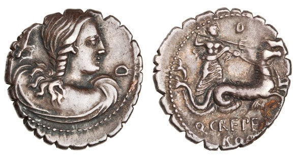 Denarius Goddess coin at Joslyn Art Museum