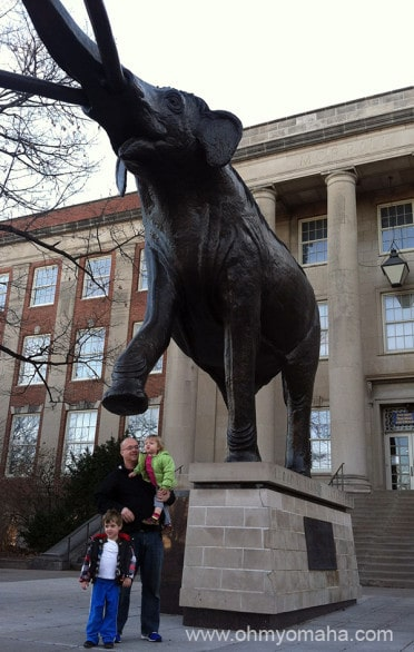 Mr. Wonderful and the kids freezing outside in front of Morrill Hall.