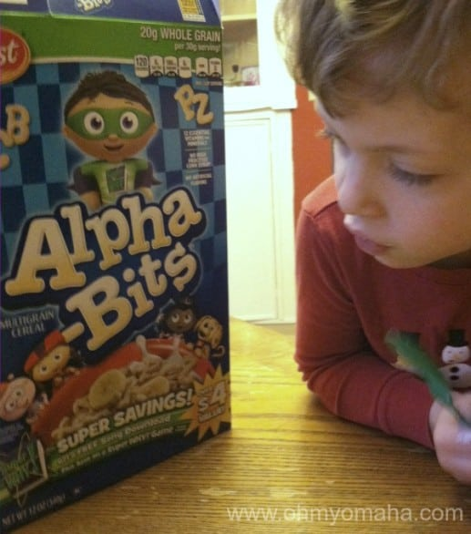 My preschooler appreciates that his cereal not only has letters to play with but SuperWHY on the box. Life was good that morning. And, yes, that's my kid in a Christmas pajama top in March. What of it?