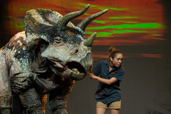 Dinosaur Zoo Live Aimee Louisanne and Triceratops photo credit Chris Waits