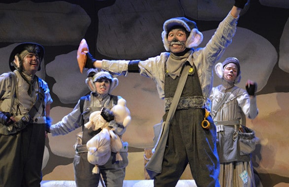 "From left, Walter Shatley, Stephanie Jacobson, Wai Yim and Allana Reeves in ""Leo Lionni's Frederick"" at The Rose."