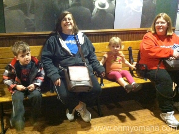 Farley and Mooch hanging out with their aunts at the Union Pacific Railroad Museum.