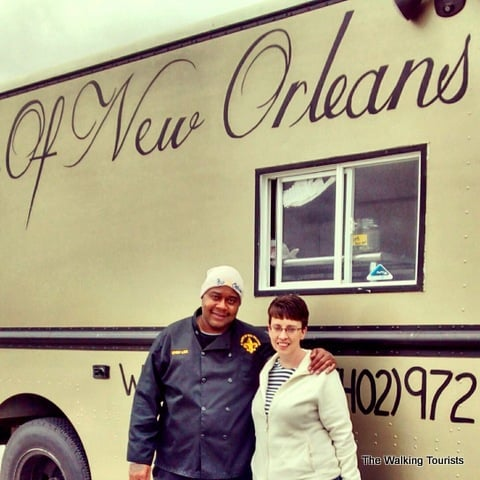 Lisa with Chef Lee and his Taste of New Orleans food truck.