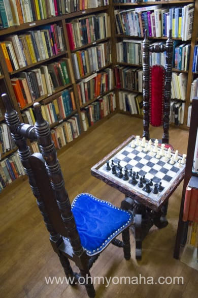 Chess tables, unique chairs and artwork add to the atmosphere at Antiquarium.