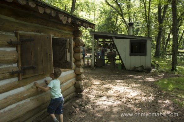 The living history cabins and display booths are open weekends during the summer.