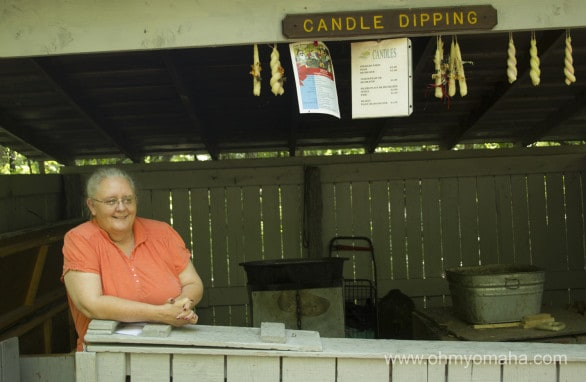 The friendly soap maker, part of the living history experience at Indian Cave State Park.