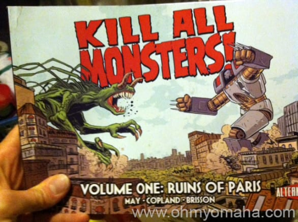 "If you know me at all, you're probably amused that my son's first graphic novel is ""Kill All Monsters!"" Even the granola mom's kid loves this stuff."