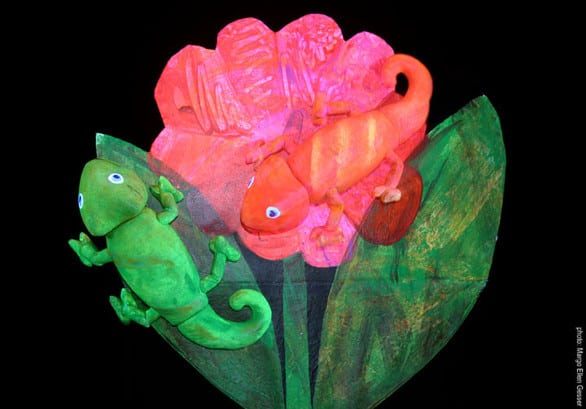 "The 60-minute production features three Eric Carle stories adapted to the stage, including the ""Mixed-Up Chameleon,"" seen here. Photo courtesy Theater"