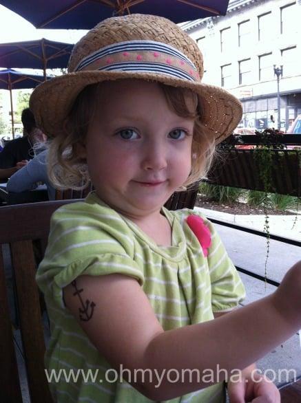 My daughter's tough sailor girl look.