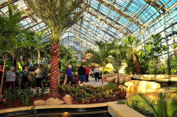 Visitors check out the  tropical house inside the new Marjorie K. Daugherty Conservatory at Lauritzen Gardens. Photo courtesy Lauritzen Gardens
