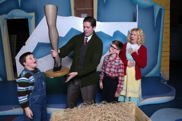 "The classic moment of ""A Christmas Story The Musical"": It's a major award. Pictured are Jude Glaser (Randy), Konrad Case (The Old Man), Angela Jenson-Frey (Mother) and Danny Denenberg (Ralphie). Photo courtesy The Rose"