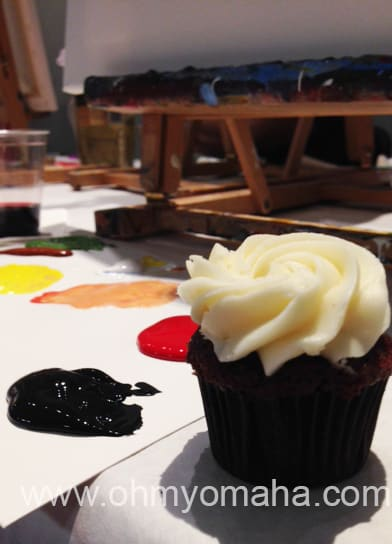 All I need to paint, a Jones Bros. cupcake, a glass of wine and the paint.