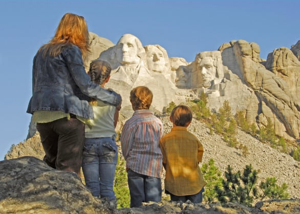 Family viewing Mount Rushmore