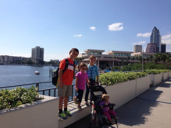 TampaMama shares her favorite things to do with kids in Tampa. Here, her children pose for a picture while playing at Sail Pavilion. Photo courtesy Marisa Langford