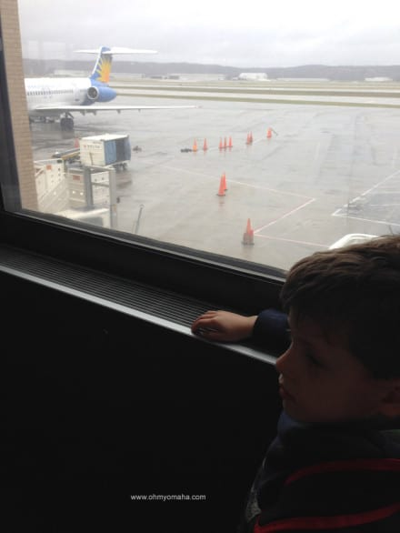 Waiting eagerly to board our plane.