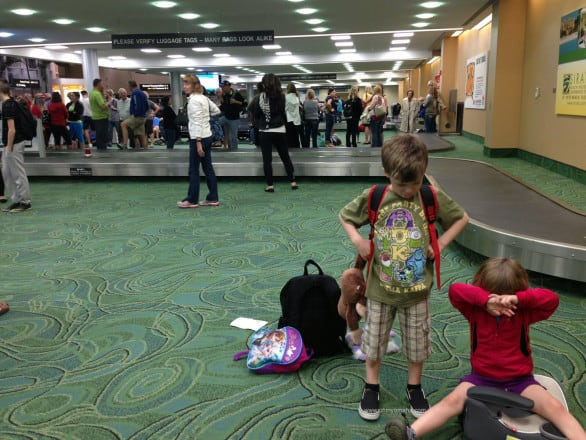 The wait for our luggage felt like a long time, mainly because everyone was up way past their bedtime.