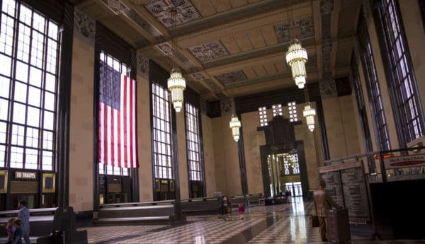 The Durham Museum is housed in the Union Station building in downtown Omaha. The interior of the building features Art Deco designs.