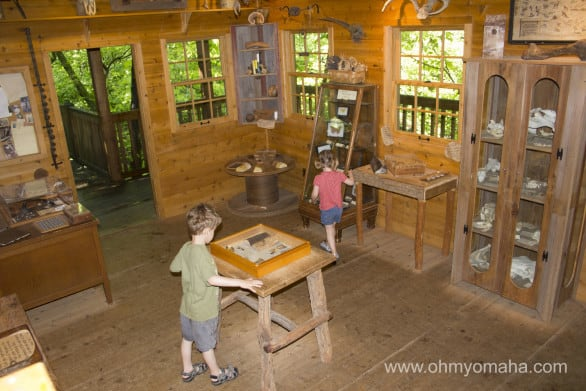 The cabin next to the 50-foot tree house featured educational activities for kids.