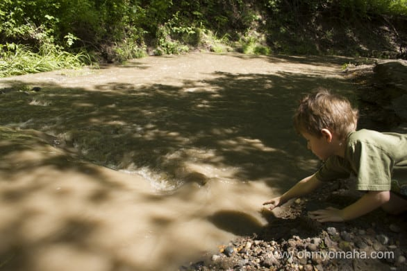 You'll cross over a creek a couple times along the way, but look for a side path that will take you right down to it.