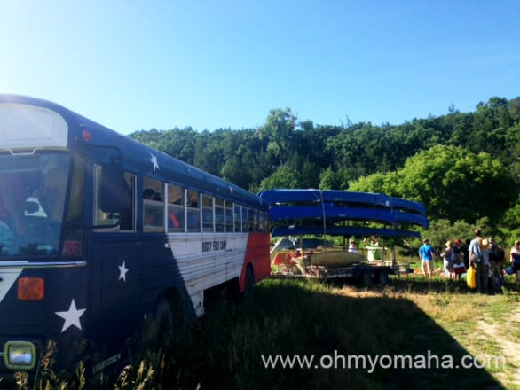 Our bus dropped us off by the Niobrara River entry point, so we can canoe back to our cars.