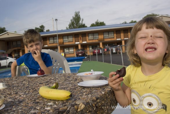 Dining poolside at a motel? Why not? The kids liked the food options at The Hills Inn in Hot Springs.