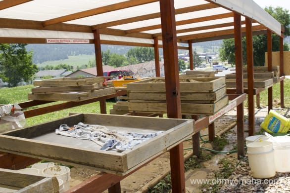 Near the picnic tables is a work space for the volunteers to sift through dirt to find tiny fossils.
