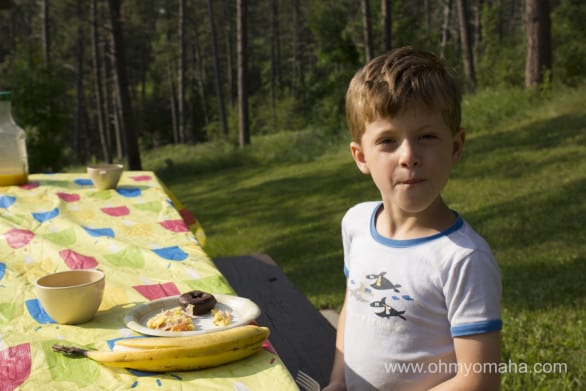 Picnic breakfast at Chadron State Park.