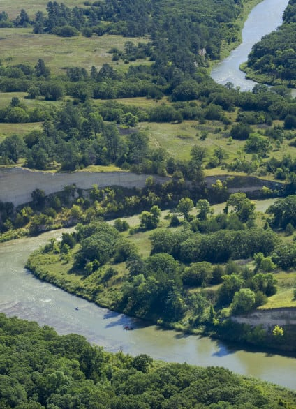 An aerial view of the Niobrara River.