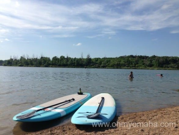 Standup paddleboards on the shore of Lake Cunningham in Omaha.