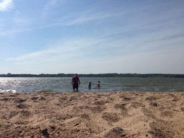 There's a sandy beach at Branched Oak Lake in southeastern Nebraska