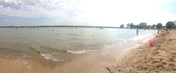 Panoramic of a beach at Branched Oak State Recreation Area