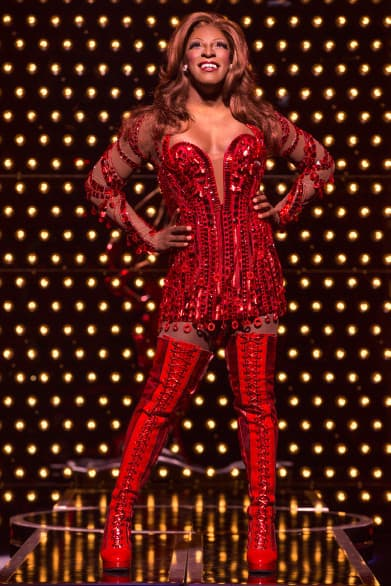 "Lola in the Broadway touring production of ""Kinky Boots"" is played by Kyle Taylor Parker. Photo by Matthew Murphy"