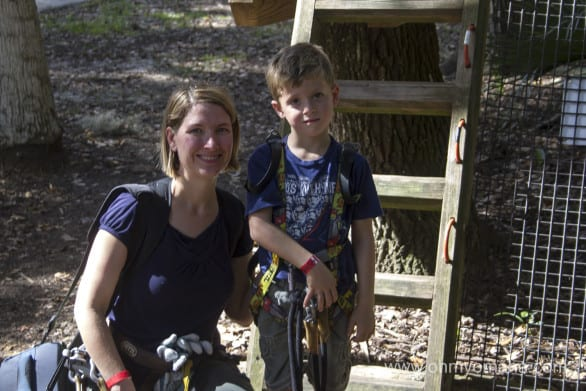 Mom and son getting ready for the zip line courses at the Central Florida Zoo