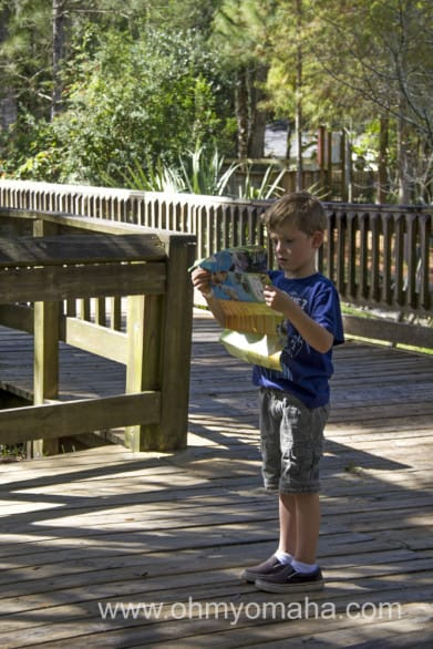 Kid looking at a Central Florida Zoo map