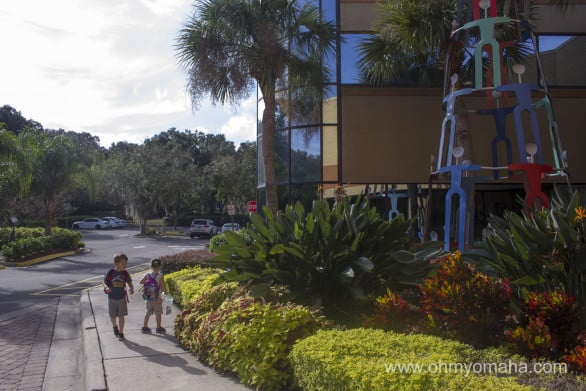 We stayed at the Hilton in Altamonte Springs, located between Orlando and the Orlando Sanford International Airport. My kids are lizard hunting in this photo...