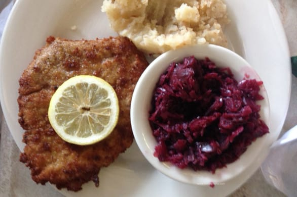 Hollerbach's schnitzel, red cabbage and Heaven & Earth Potatoes.
