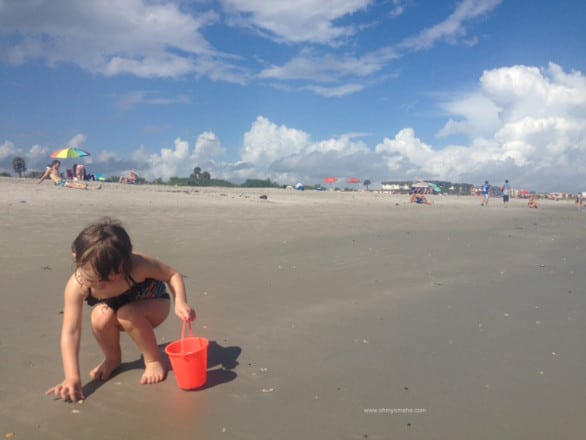 Collecting seashells at Cocoa Beach, Florida.