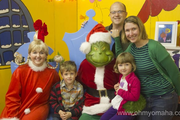 The Oh My! Omaha gang with Cindy Lou and the Grinch at City Market.