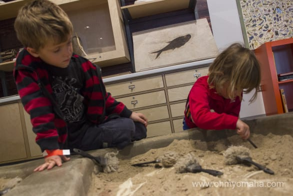 The dig site in the Discovery Room.