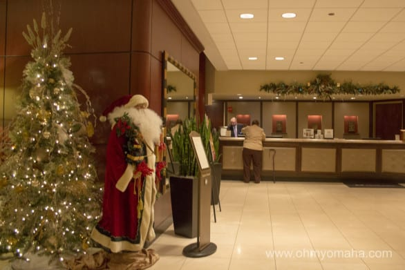 The festive lobby of the DoubleTree Hotel in Overland Park, Kansas.
