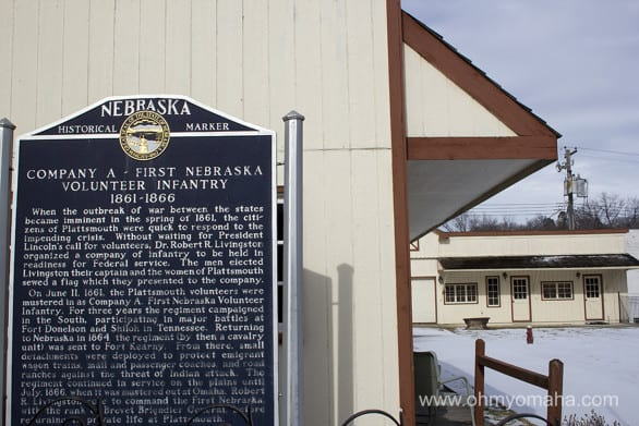The historical marker by the Cass County Historical Society Museum.
