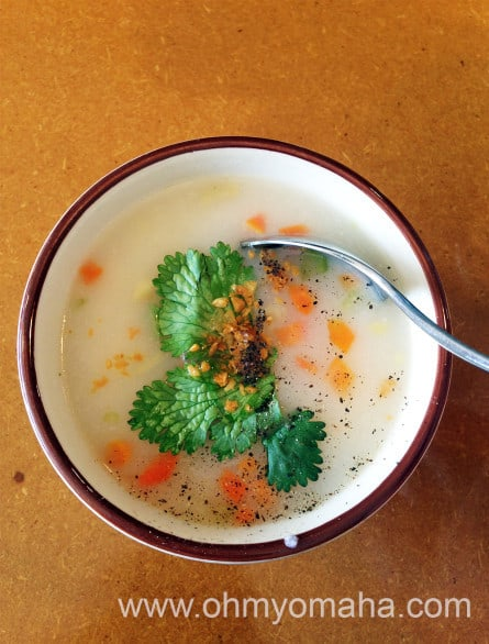 The rice soup that comes with the lunchtime entree at Sisters Cafe.
