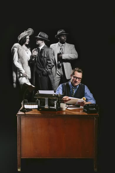 "Lines between the ""Reel World"" and ""Real World"" blur in Omaha Community Playhouse's ""City of Angels."" Pictured, from left, are Jodi Vaccaro, Isaac Reilly and Shomari Huggins, with John Jones at seated at the desk. Photo by Colin Conces."