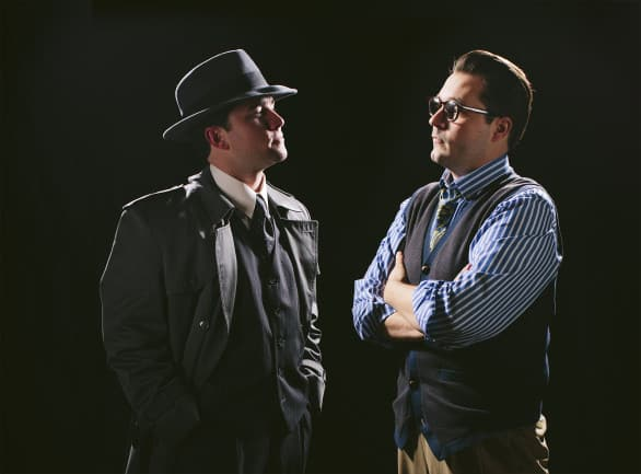 "Isaac Reilly, left, is Stone, the rough detective from the book ""City of Angels,"" written by author, Stine, played by John Jones. It makes sense if you see the show. Photo by Colin Conces"